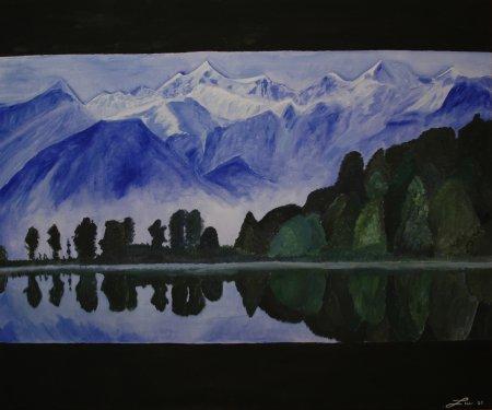 Gemälde Bergpanorama